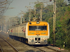Indian Railways : Shiny oldie EMU towards its next destination.. :) (Clicker Purnava) Tags: railroad west speed train ir er outdoor indian transport rail sunny vehicle emu local passenger ser railways bengal abb icf howrah mps pantograph kgp kharagpur abada irfca hwh