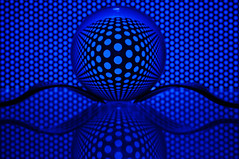 Crystal ball (hjuengst) Tags: blue macro reflection art globe artwork gabel fork blau makro mable crystalball glassball glaskugel reflektionen lochblech perforateplate