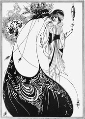 """The Peacock Skirt"" by Aubrey Beardsley from ""Salome"" by Oscar Wilde. NY: Three Sirens Press, (c. 1930). (lhboudreau) Tags: art illustration book artwork play drawing oscarwilde wilde illustrations drawings peacock books story artnouveau tragedy salome grotesque penandink bookart blackink beardsley nineteenthcentury hardcover aubreybeardsley peacockskirt thepeacockskirt stageplay hardcovers britishartist englishartist englishillustrator threesirenspress"