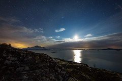 Midnight moon in northern Norway (Tom-Runar Johnsen) Tags: moon norway canon norge midnight nightsky rana hdr helgeland moirana aldersundet