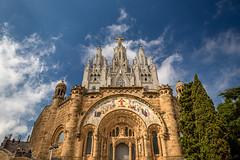 In the clouds (korylp) Tags: barcelona summer mountain church saint clouds temple spain arquitectura architechture europe barca christ basilica holy espana cruz colourful tibidabo klp