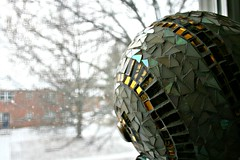 Ohhh ... shiny!! (EarthMotherMosaics) Tags: flowers cats moon mosaics stainedglass letitsnow vases snowday midcenturymodern gazingball earthmothermosaics