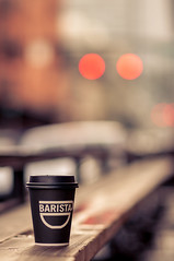 Day in the city (Wily Wanka) Tags: cup coffee portland nikon bokeh citylife 85mm pearl f18 barista d90