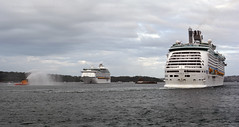 Explorer & Voyager meet 3 (PhillMono) Tags: voyage new cruise cloud storm water wales grey boat nikon ship harbour south explorer salute gray sydney royal overcast australia vessel bow cannon quarter caribbean voyager tug arrival dslr departure stern fireboat seas rccl d7100