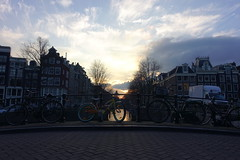Sunset Amsterdam 2016 (anneke_vermeulen) Tags: bridge sunset amsterdam bicycle thenetherlands