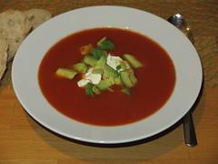 Tomaten-Chili-Suppe mit Avocado (multipel_bleiben) Tags: essen suppe gemse geflgel schnellzubereitet