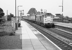 Loco 31 158  |  Castle Cary, UK  |  1983 (keithwilde152) Tags: uk blackandwhite castle monochrome station train br diesel parcels western 1983 region cary oudoor locomotives platforms class31