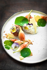 fig, cream puff, vanilla ice cream, white chocolate shards, nasturtium and creme anglaise (TailorTang) Tags: stilllife food dessert 50mm fig pansy puff violets pansies whitechocolate nasturtium pateachoux 5014 foodphotography violas plateddessert edibleflower cremepatisserie