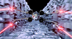 Death Star Trench Run (kevchan1103) Tags: red star 1 moving model 5 five xwing kit wars edition 48 bandai starfighter 148