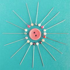 Surrounded (cazadordesueños) Tags: macro colorful sewing creative pins colores indoors button botón alfileres formatocuadrado
