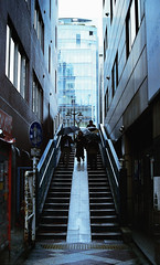 Down Alley (Iain McLellan B) Tags: life city blue film japan analog 35mm lens photography 50mm tokyo photo mood afternoon with district arts dream olympus photographic passion akihabara yokohama 1970s electronic zuiko om1 200mm om1n lifewithalens