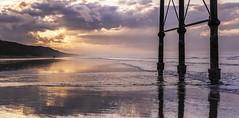 Fiery Sky at Saltburn Beach (wearerisendead) Tags: ocean sunset sky reflection beach skyline clouds reflections landscape landscapes pier seaside nikon outdoor saltburn d90