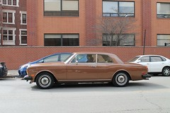 Caramel Corniche (Flint Foto Factory) Tags: auto city morning roof winter urban brown chicago motion brick english church car training march moving illinois am automobile traffic salvationarmy side sunday profile north broadway caramel corniche fixed british intersection rolls posh addison facility lakeview import luxury coupe royce presbyterian wrigleyville boystown 2016 2door 716 waddison worldcars