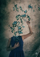 """Dream Wherever You Are II"" ( 2015 by Keren Stanley) (keren_stanley) Tags: art photomanipulation dark creativity fineart butterflies surreal magnifyingglass thoughts depression expressive conceptual fineartphotography overthinking"