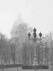 Gray morning. (Vladimir Serebryanko) Tags: morning trees bw fog stpetersburg blackwhite cathedral russia lantern monochrom stisaaks