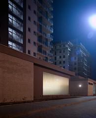 Katowice, Poland. (wojszyca) Tags: city longexposure urban 120 mamiya architecture night mediumformat construction kodak shift highrise flare epson 6x7 residential portra towerblock 160 rz67 75mm 4990 tysiclecie