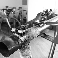 Brazing on seat post clamp. #brassbrazing... (Stubborn Cycleworks) Tags: columbus handmade fixed handcrafted fixie fixedgear custom framebuilding custommade filletbrazing seatpostclamp brassbrazing spunstudio uploaded:by=flickstagram stubborncycleworks instagram:venuename=stubborncycleworks instagram:venue=263704721 instagram:photo=10895489293969058722926796