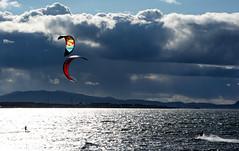 Surfers in Scotland (skullwull) Tags: sea sky clouds scotland surfers windsurfers longniddry