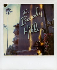 Flaming Azureé (tobysx70) Tags: california ca sunset toby portrait woman tree film sunglasses leather sign polaroid sx70 photography hotel spring time balcony flames shades palm bougainvillea hills hotelcalifornia jacket april instant week beverly day3 hancock expired divot zero flaming blvd tz theeagles timezero roid the 2016 0906 polaroidweek roidweek polawalk 022216 azureé
