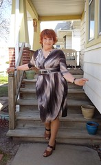 Spring In The Air! (Laurette Victoria) Tags: woman dress redhead milwaukee porch heels laurette