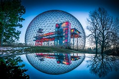 Oval shaped (Andr Poirier) Tags: urban canada reflection architecture outdoors spring belgium montreal biosphere bluesky