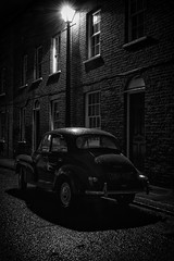 Morris-Minor (Da_vina) Tags: blackandwhite london car dark nighttime alleyway cobbles gaslight