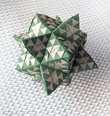 "Kusudama op.81 6 (""Sierpinski triangles"") (Andrey Ermakov) Tags: triangles star origami geometry puzzle modular math hexagon fold crease sierpinski colorchange ermakov starpuzzle andreyermakov"