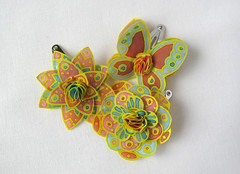 Bright colorful baby hair pins (simutes) Tags: flowers orange baby yellow butterfly scarlet toddler azure handpainted littlegirl yellowflowers hairpin silkpainting hairpins silkflowers silkbutterfly silkhairpin