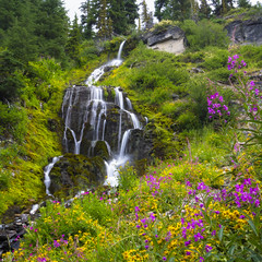 Fireweed & Falling Water (RobertCross1 (off and on)) Tags: longexposure flowers trees mountains nature water grass oregon creek forest square landscape volcano us waterfall moss stream unitedstates or blossoms olympus cascades bloom pacificnorthwest craterlake wildflowers lush cascade omd fireweed klamath cascaderange craterlakenationalpark vidaefalls em5 1250mmf3563mzuiko