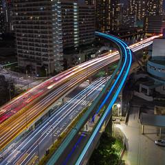 Shibaura (B Lucava) Tags: city blue urban night tokyo cityscape expressway monorail lighttrail shibaura
