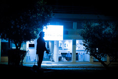 Blue people (Kostas Katsouris) Tags: street blue shadow people urban woman dog night walking fuji athens greece filter shape leach xt10