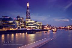 London at night (Justin S Reid) Tags: city uk travel light england sky reflection london skyline architecture night buildings river long exposure cityscape exterior roland shard 500px ifttt shainidze dierjscreensaver