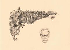 Arma de huesos (LauraOspinaMontoya) Tags: david de cine huesos dibujo pistola cronenberg arma lpiz grafito existenz