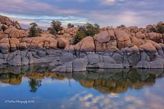 Morning Reflections (TreeRose Photography) Tags: morning trees arizona lake water clouds sunrise reflections rocks patterns shapes textures mirrorimage prescott watsonlake rockformations granitedells