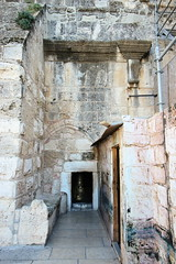 Entrance to the Church of the Nativity in Bethlehem via the door of humility. (Dave Russell (700k views)) Tags: door west church israel shrine arch christ palestine jesus birth bank christian doorway manger christianity archway bethlehem crusader nativity crusaders entrace humility