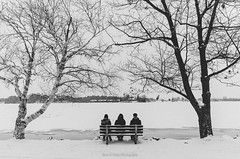 Sit with me (Bust it Away Photography) Tags: travel winter friends people blackandwhite snow canada cold monochrome river bench frozen nikon outdoor ottawa adventure coolpix gatineau outaouais a bustitawayphotography