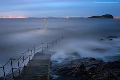 Step into the Unknown (Damon Finlay) Tags: sunset seascape water rock landscape coast scotland movement rocks fuji bass north east forth horseshoe northberwick berwick fujinon lothian firth firthofforth bassrock eastlothian xe1 watermovement f284 fujixe1 xf1855mm xf1855mmf284