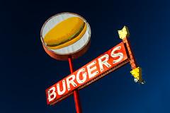 Burgers (ISP Bruno Laplante) Tags: old blue light red arizona sky orange white sign yellow vintage dark az 66 route burgers seligman