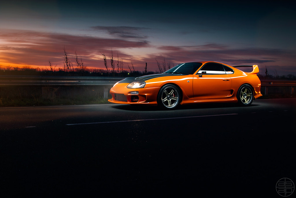 Toyota Supra (ASAP_Prod) Tags: Sunset Orange Beautiful Car Night Drag Fire  Evening Highway