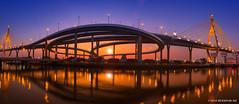 Bhumibol Bridge, Samutprakan (M. Ali Changezi) Tags: bridge sunset sky architecture river landscape thailand golden suspension ali chaopraya samutprakan samutprakarn bhumibol prapadaeng