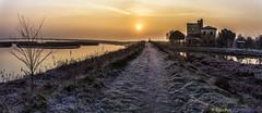 Winter Sunrise on the Comacchio Lagoon (www.danbos.it) Tags: travel winter sunset sky ice colors sunrise landscape golden tramonto alba natura cielo hour hora inverno crepuscolo hollidays comacchio allaperto