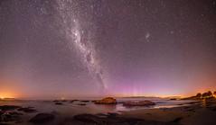 Panorama with Aurora rays (five15design) Tags: pink blue sea newzealand moon beach water clouds stars lights brighton purple southerncross aurora southisland otago dunedin brightonbeach milkyway southernhemisphere auroraaustralis galacticcore otagocoast coastaotearoa pacificoceaneveningnight