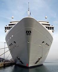 Opera (The Rubberbandman) Tags: cruise italy port greek harbor boat opera italia ship harbour outdoor vessel greece bow corfu schiff cruises msc fahrzeug
