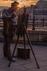 Staute of Roskovics Ignc Budapest (Vagelis Pikoulas) Tags: winter sunset sun canon painting europe paint hungary budapest january sunburst tamron vc 6d 70200mm 2016