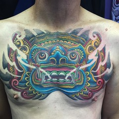 Finished my bro Mitch's chest mask #balimask #pooch @fusionink_ca