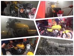 The lady gets a little TLC (Yazed RD350 Lord) Tags: yellow shower polish carwash wash foam yamaha rd350