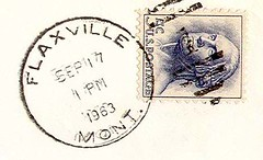 Flaxville, Montana  59222 (Postmarks from Montana) Tags: montana postagestamp 1963 postmark september17 flaxville