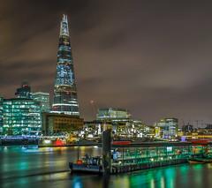 Shard London Bridge (aurlien.leroch) Tags: uk longexposure england london thames night londonbridge nikon europe cityscape londres shard d3000