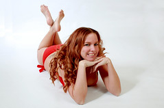 312 017 (a8008man) Tags: red white hot sexy beautiful studio model head gorgeous redhead suit bikini backdrop bathing 312