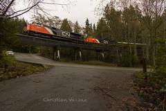 Over the road. (Christian Vazzaz) Tags: canada west vancouver cn bc canadian passenger ge chairman cnr cnrail emd westvan bcr bcrail bcol explorebc explorecanada exploresquamish
